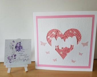 Mothers Day Iris folding card , Mum Heart , Pink Butterflies , For Her , Handmade Card , Birthday Card