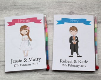 Children's Personalised Wedding Activity Colouring Pack, Favour, Gift