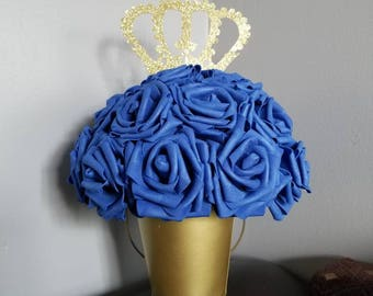 Prince centerpiece, royal blue, gold, boy centerpiece