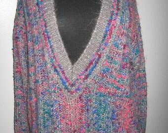 """V-neckline """"mohair"""" multicolored sweater"""