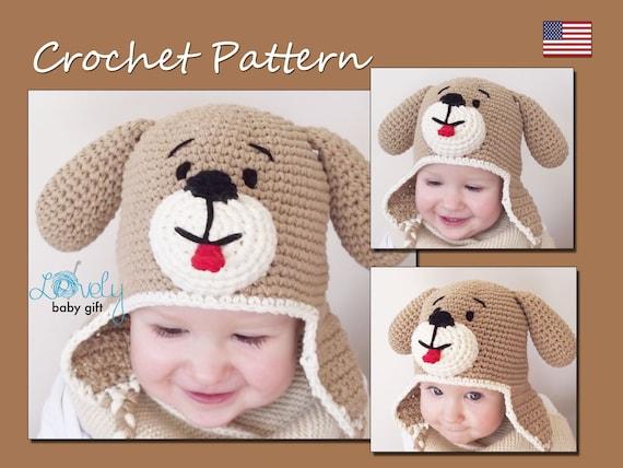 Crochet Hat Pattern, Baby Hat Pattern, Puppy Dog Hat Crochet Pattern ...