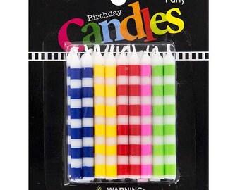 Stripped 18 Birthday Cake Celebration Candles