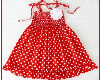Red and white polka-dot dress for girls, Red-white frilly dress, Baby red and white polka-dot dress, Girls red dress and matching headband