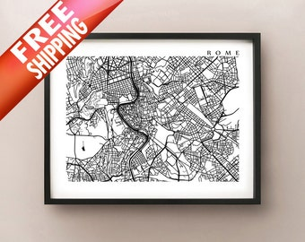Rome Map Print - Italy Poster - Black and White