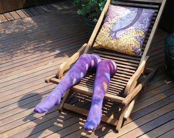 Purple tie-dye thigh high socks with rainbow polka dots