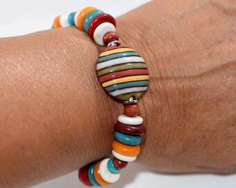 Chunky Striped Handmade Bracelet, Multi Colored Bracelet, Chunky Bracelet, Ceramic Bracelet, Tagua Bracelet, Antique Silver, Beaded, B013
