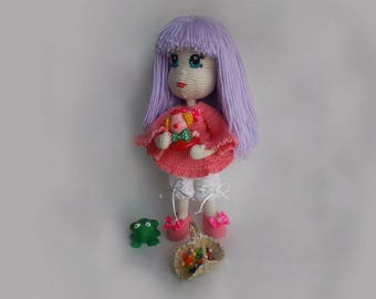 Violet Crochet Doll gift for girls custom doll Art Doll pretty doll Amigurumi Doll princess Will be made JUST FOR YOU