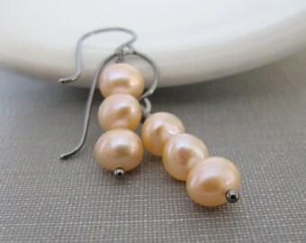 Pearl Earrings, Pale Peach Pearls, Silver Earrings, Peach Pearl Trio, Dangle Earrings, Sterling Silver, Pearl Jewelry, Silver Jewelry