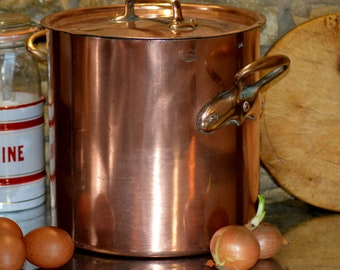RARE antique Les Grands Magasins COPPER stock pot stew pot mauviel