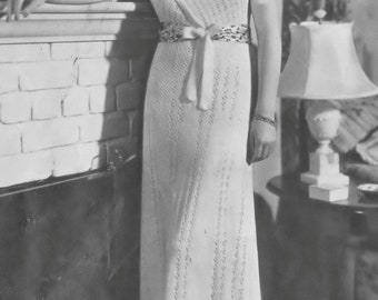 "Vintage Grecian Surplice Evening Dress Knitting Pattern Bust 34-36"" Forties PDF e-Pattern Reproduction Instant Download Digital"