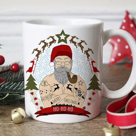 Coffee Mug Funny Santa Tattoo Christmas Coffee Cup