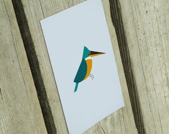 sky blue spring postcard with common kingfisher