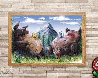 Limited Edition print Totoro Snorlax