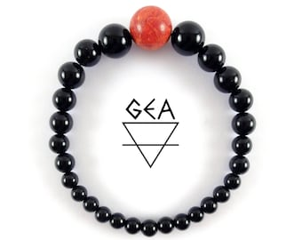 Woman's Evil Eye bracelet-Red Coral bracelet-Women Black Onyx bracelet-Protection Bracelet