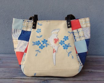 Woodland Parrot Bird Bag - Vintage Embroidery, Blue and Coral Patchwork and Leather Bag.