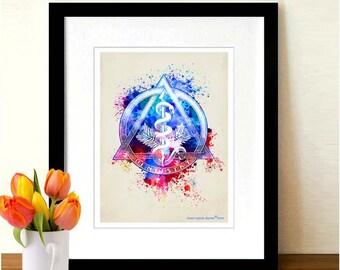 "Fine Art Print - ""Watercolor Dentistry Logo "" 8.5""x11"", Dental print, Dentist Gift, Dentist Office Decor, Watercolor Splatter art"