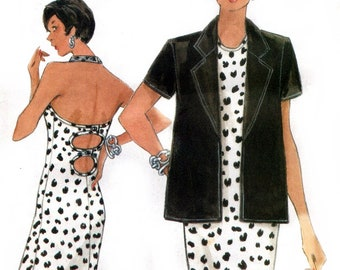 Vogue 9670 Wolf Whistle Halter Dress with Peeky Back & Jacket / 1997 SZ6-10 UNCUT