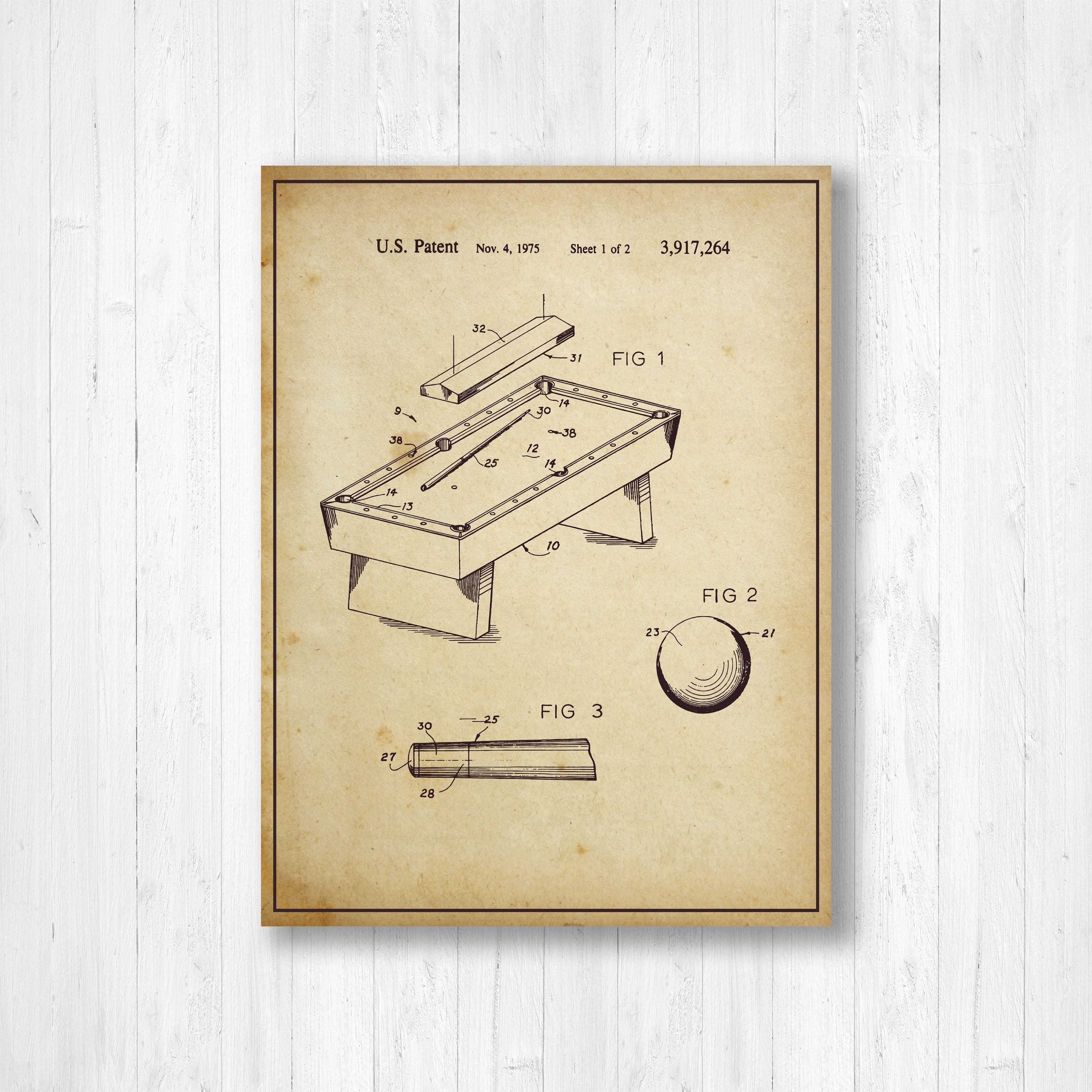 Billiard Table, Patent, Old Patent, Invention, Vintage Patent ...