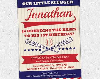 Baseball Birthday Invitation, Vintage, Retro, Child, Boy Party, Red and Blue Printable or Printed
