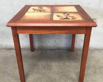 Mid Century Inlaid Tile Teak End Table (6L46AY)