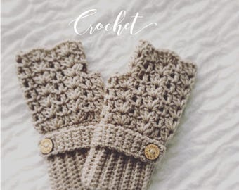 Crochet Fingerless Gloves // Gifts for her // Winter 2018 // Adult  Mittens // Cream // Taupe // Grey // Mittens