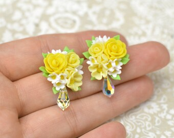 Any Coloured Custom Made Flower Earrings with Swarovski Crystal Droplets, and Sterling Silver Studs