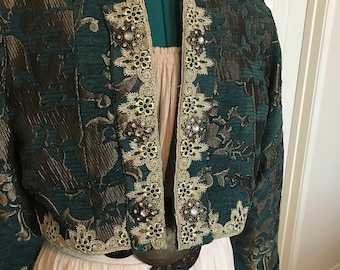 Ladies Pirate Gypsy Renaissance Bolero Teal Brocade Jacket Size Large 10-14