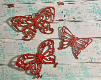 Butterflies Wall Art 3 Plastic Butterfly Wall Hangings Plastic Butterflies Set of Butterflies Red Butterflies Cottage Chic Wall Decor