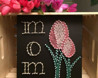 String Art Board: Mom Artwork, Mother's Day Gift, Tulip, Gift for mom, Gift for her, home decor, wall decor