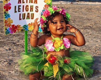 Birthday Luau Outfit - Baby Girl 1st Birthday Outfit - Childrenu0027s Luau Dress - Luau First Birthday - Flower Crown  sc 1 st  Etsy & 1st birthday outfit | Etsy
