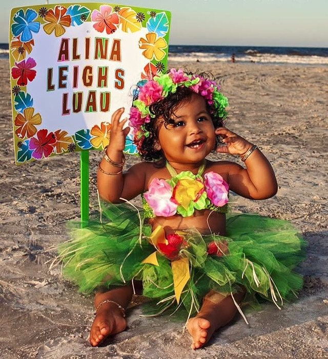 Baby Girl Birthday Luau Tutu 1st Birthday Outfit Luau Tutu