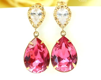 Pink Earrings Gold Earrings Fuchsia Earrings Hot Pink Earrings Swarovski Crystal Cubic Zirconia 16k Gold Plated Magenta Earrings RP31P