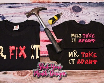 Matching Shirts; Matching Father Son; Father Daughter; Mr Fix It; Dad gift from kids; dad and baby shirts; new dad shirt; Gift for him