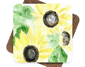Sunflower Coaster Set of 4, sunflower coaster, sunflower coasters, flower coaster, flower coasters, floral coaster, floral coasters