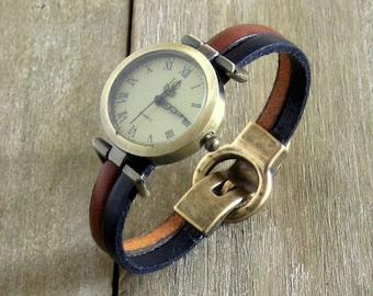 Camel/black leather strap, magnetic closure Bronze Dial Watch Bronze color