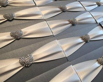 Diamante Heart Cluster | Ribbon | Pocketfold | Personalised Wedding Invitation