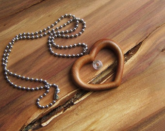 Wooden Heart Necklace, love heart pendant, necklace heart, wooden heart, wire wrap, gift for her, spiral