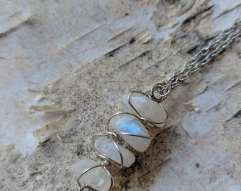 Blue Flash Rainbow Moonstone Wire Wrapped Pendant in Silver