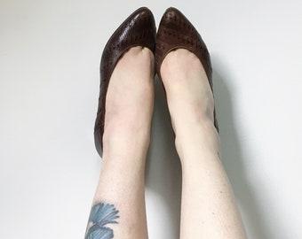 Vintage Shoes, Vintage Heels, Brown Leather Shoes, Vintage Pumps, Retro Court Shoes, UK 3.5