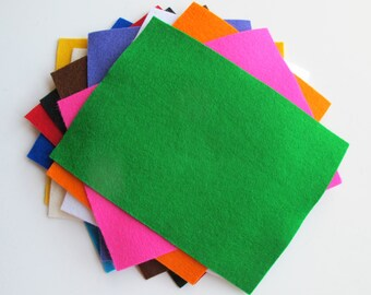 Felt Sheets - Primary Colors - 100% Wool Felt - Twelve 6 x 8 Inch Sheets - Assortment - Washable Felt