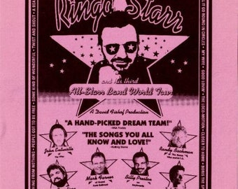 RINGO STARR 1995 Allstar Band Tour Aug 18-19 Pink Promotional Handbill (Beatles)