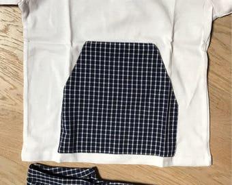 Navy blue checks pijama unisex with marsupio pocket
