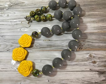 Beaded Acrylic/Resin Chunky Necklace,  Statement Necklace,  Chunky Bead Necklace Grey/Yellow, Jewelry, Gift