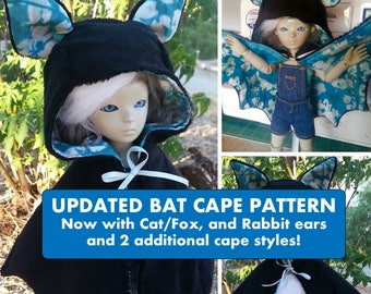 Animal Cape YoSD BJD Sewing Pattern PDF: -Advanced Beginner- Tutorial included. Easy to use