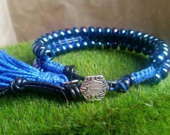 Leather Cuff, Beaded Adjustable Wrap Bracelet, Bohemian, Leather Bracelet, Blue, Tassel Bracelet, Blue Bracelet, Gift for Her, Gift Under 20