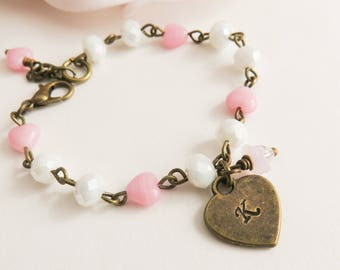 Personalized pink girls bracelet, initial bracelet, pink children's jewelry,  grangddaughter gift, vintage style wedding jewelry