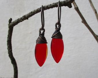 Red glass copper earrings, dramatic wire wrapped glass earrings, antiqued copper earrings, deep red drop earrings, boho everyday earrings