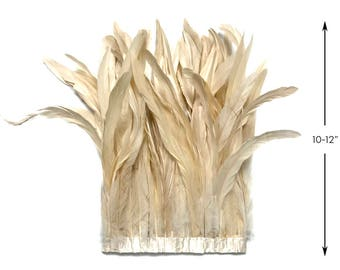 """Strung Feathers, 1 Yard - 10-12"""" IVORY Bleach Coque Tails Long Feather Trim : 3308"""