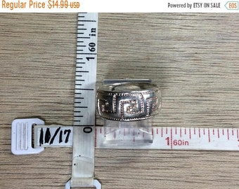 10%OFF3DAYSALE Vintage 925 Sterling Silver 5.9g Ring Size 6 Band Greek Key Design Used