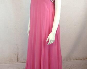 SALE 60s Silk EDWARDIAN Evening Gown Early 60s Beaded Rhinestone Sequined True Empire Bodice Back Sash Full Skirt Stunning Dress